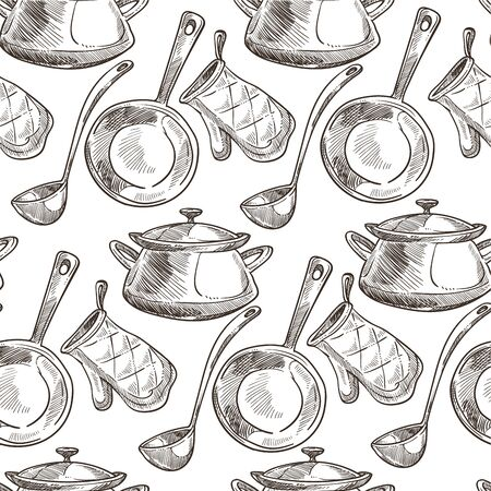 Kitchenware saucepan with spoon and baking mitten seamless pattern