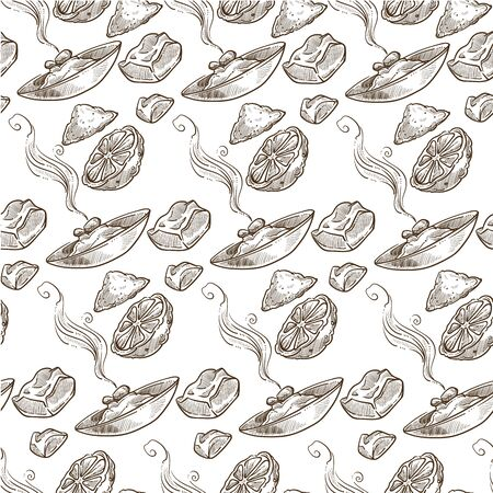 Cooked dishes with lime or lemon slice seamless pattern