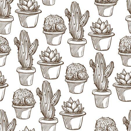 Cactus houseplants growing in pots, monochrome seamless pattern 向量圖像