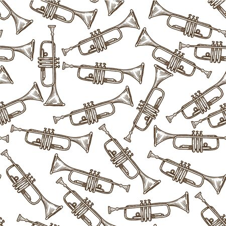 Trumpet wind musical instrument for orchestra seamless pattern