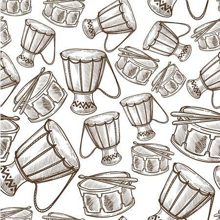 Djembe or jembe drum musical instrument seamless pattern