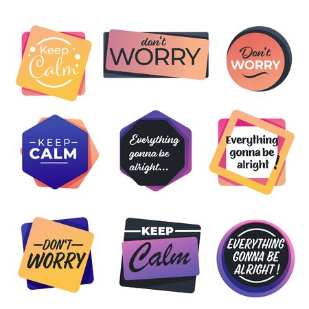 Keep calm and dont worry encouragement slogans seamless pattern