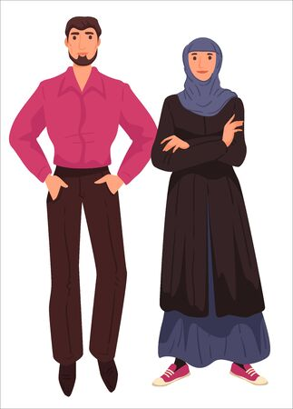 Muslim couple, arab clothes of male and female