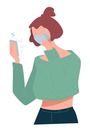 Female character reading upsetting news and updates on coronavirus spreading. Woman wearing protective mask using smartphone for surfing web. Sickness and risks for society. Vector in flat style Ilustrace