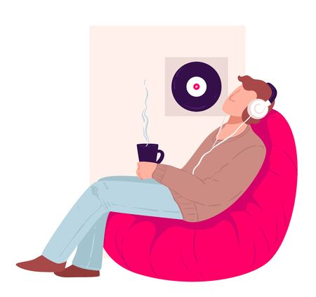 Male character spending time at home listening music and drinking hot beverage from cut. Man is comfy armchair, guy on sofa with headphones. Coronavirus quarantine activities vector in flat style
