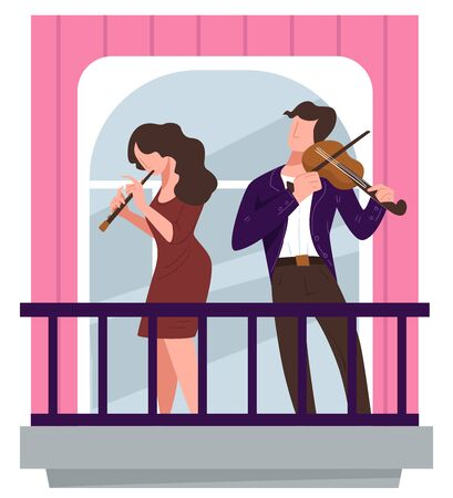 People playing violins on balcony, man and woman giving performance at home. Duo of musicians on quarantine. Self isolation activities at home, live concert for neighborhood. Vector in flat style