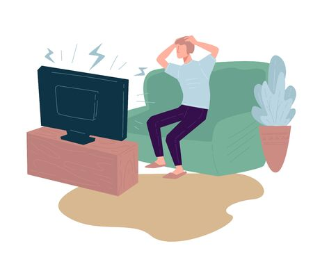 Worried man watching tv at home, panic and stress Illustration