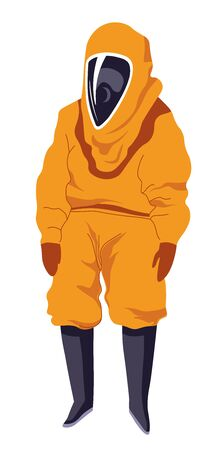 Hazmat suit with shield mask, personage in protective costume Illustration