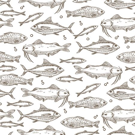 Fish floating in water, seafood raw marine creature seamless pattern