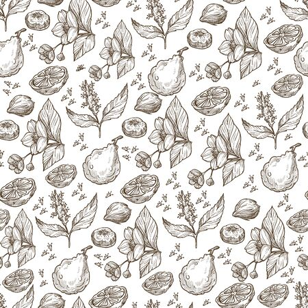 Exotic fruits and herbs, tropic plants seamless pattern