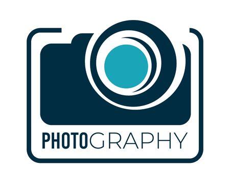 Photography service studio or company logotype with camera Vettoriali