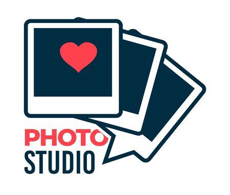 Photo studio photographer services logotype, isolated icon vector