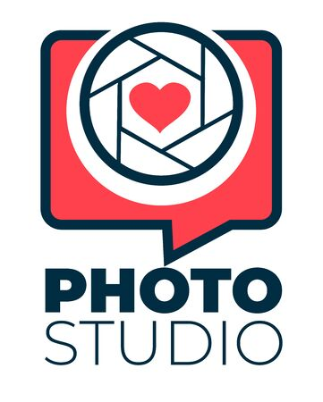 Photo studio logotype with shutter and heart vector Logo