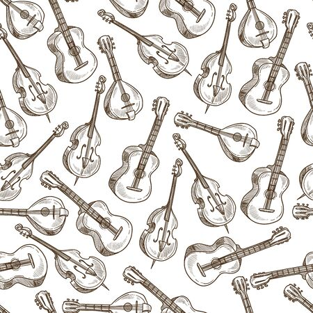 Acoustic guitar and violin, string musical instruments seamless pattern