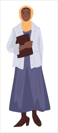 Muslim personage, young female character wearing dress and scarf