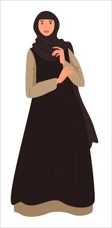 Muslim girl wearing headscarf and long dress vector