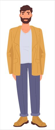 Casual outfit of bearded man, male fashion clothes  イラスト・ベクター素材