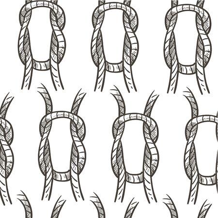 Rope knot loop or cordage, nautical theme seamless pattern 일러스트