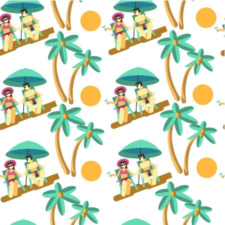 Man and woman on summer vacation by seaside seamless pattern Illustration