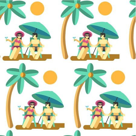 Couple relaxing by seaside on summer vacation seamless pattern
