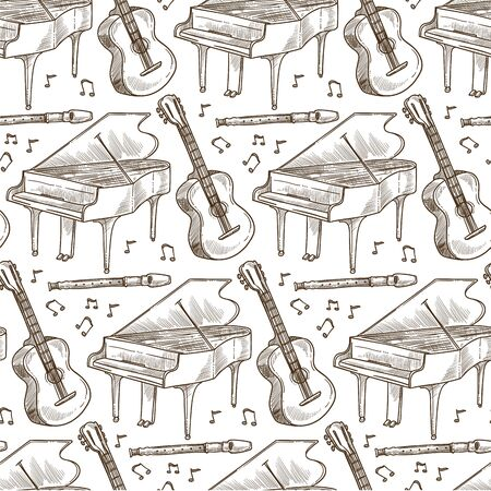 Acoustic guitar, flute and piano musical instruments seamless pattern