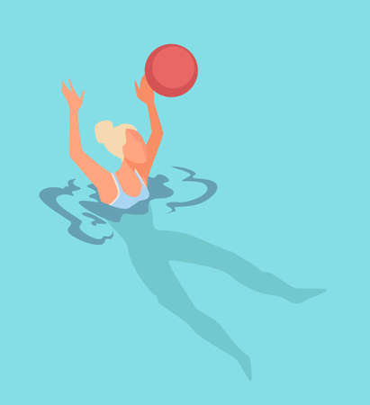 Water polo activities and games by seaside or pool