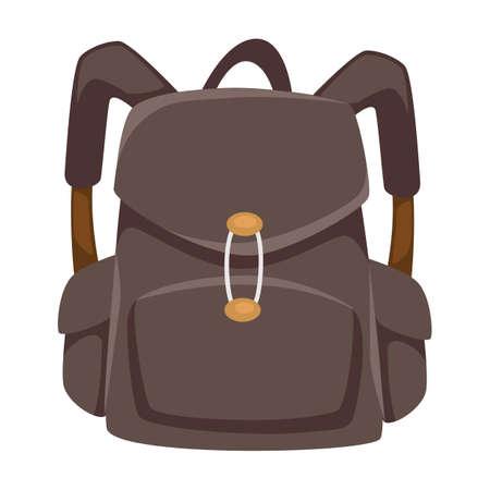 Solid rucksack with clasps and straps, unisex urban bag Vektorgrafik