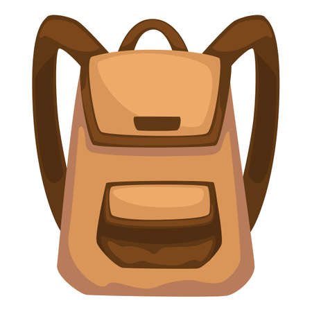 Classic rucksack with pockets and straps, backpack vector