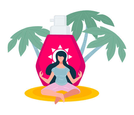 Sun lotion and meditating female character on summer vacation