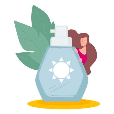 Sunscreen lotion protecting body from sunburns on summer vacation Ilustração