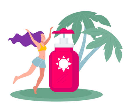 Happy female character on summer vacation, sunscreen skin care