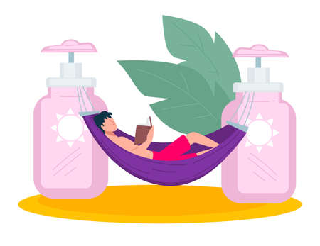 Skin care in summer, sunscreen cream for body protection Ilustração