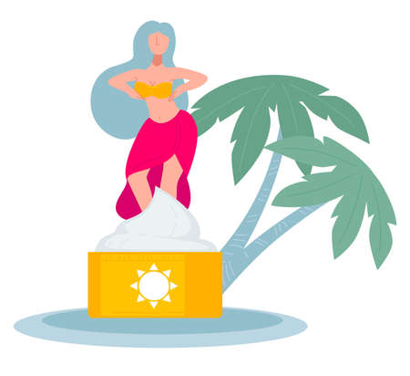 Woman dancing by sunscreen lotion for skin care in summer Ilustração