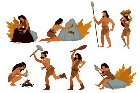 Tribal people, gatherers and hunters, prehistoric civilizations vector Vektoros illusztráció