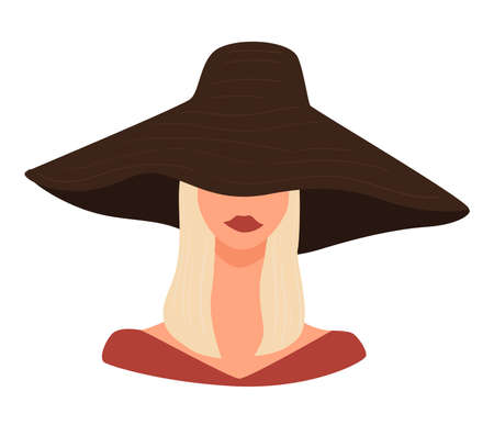 Stylish blond lady wearing hat with wide brims Illustration