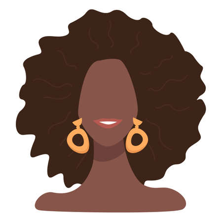 Stylish afro american female character with accent earrings