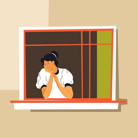 Bored woman looking out of window, coronavirus quarantine boredom