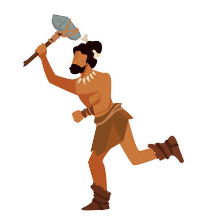 Warrior or hunter running with tool or weapon stone age Stock Illustratie
