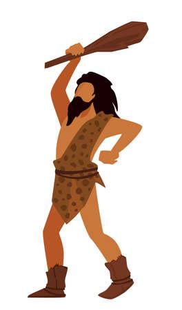 Prehistoric man holding wooden bat, hunter or warrior
