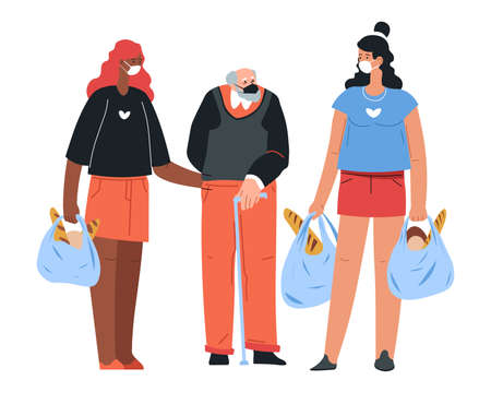 Volunteers helping senior man to carry products, coronavirus outbreak  イラスト・ベクター素材