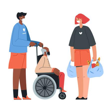 Volunteer giving food to senior man, pensioner in wheelchair Stock Illustratie