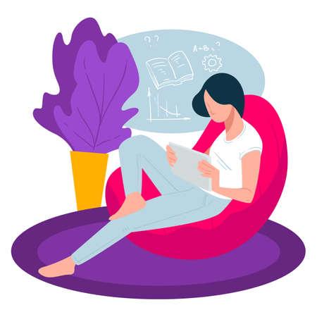 Student reading books preparing for exam or university lessons