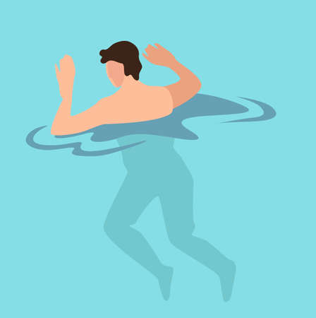 Man relaxing by seaside, male character swimming in pool. Teenager in sea or ocean water. Swimmer resting on summer vacations and holidays. Practicing sportsman training, vector in flat style