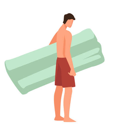 Male character with inflatable mattress for floating on water
