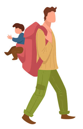 Man traveling with small kid, father with rucksack