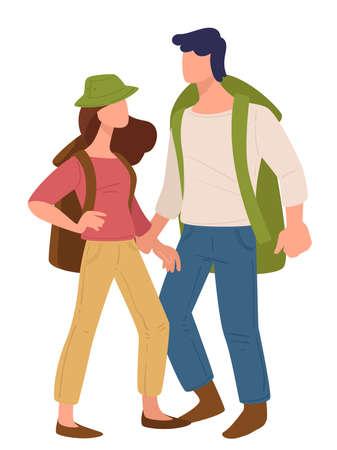 Couple traveling together, man and woman with rucksacks Illusztráció