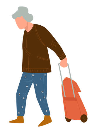 Senior character walking with suitcase, traveling pensioner vector