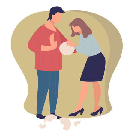 Quarreling couple, wife and husband breaking dishes vector Illustration
