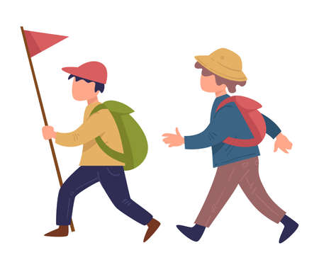 Scout boys walking with flag wearing satchels vector
