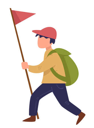Scout walking with red flag on pole, traveling boy